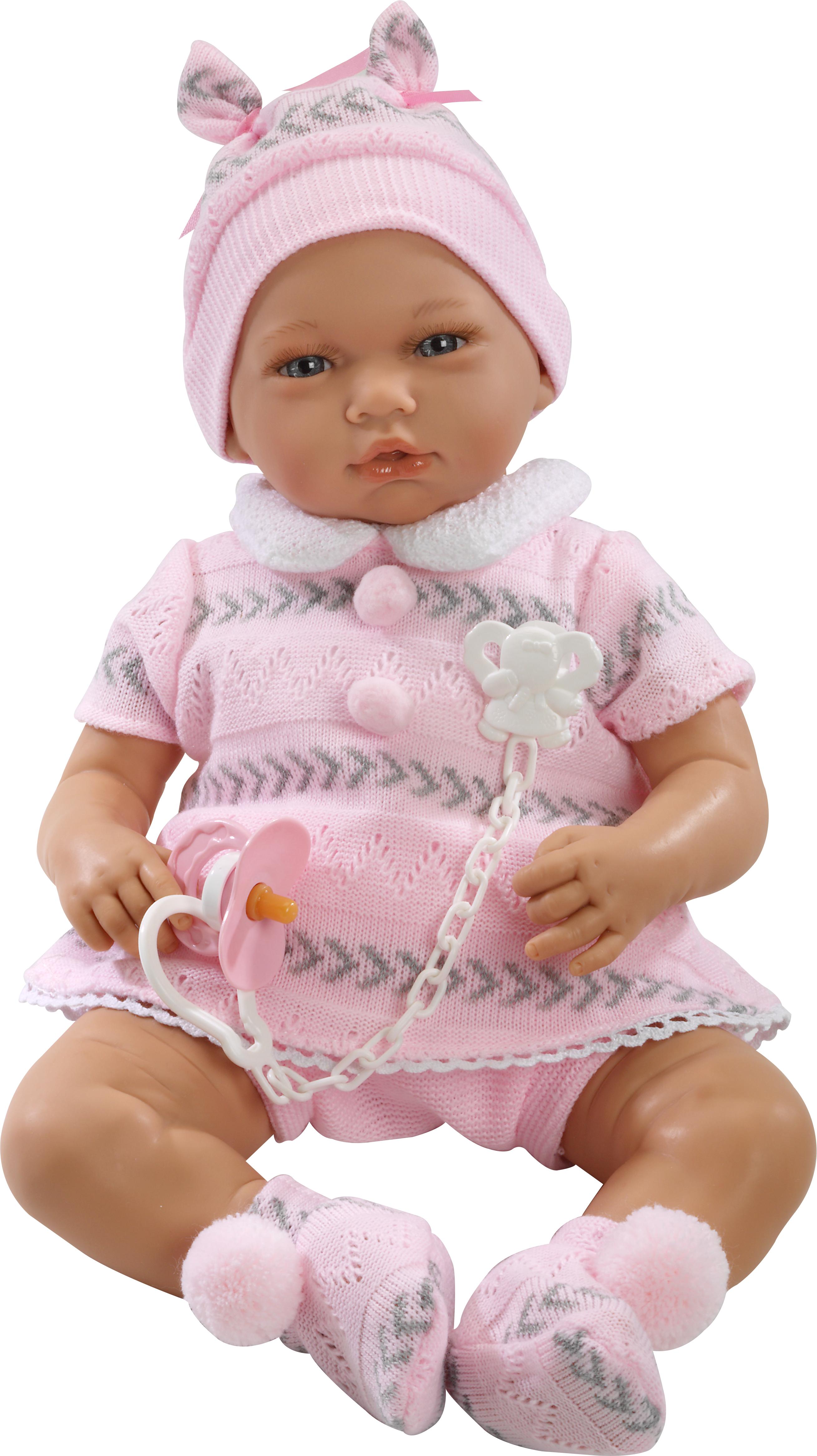Nadia Bebé sentada con jersey rosado