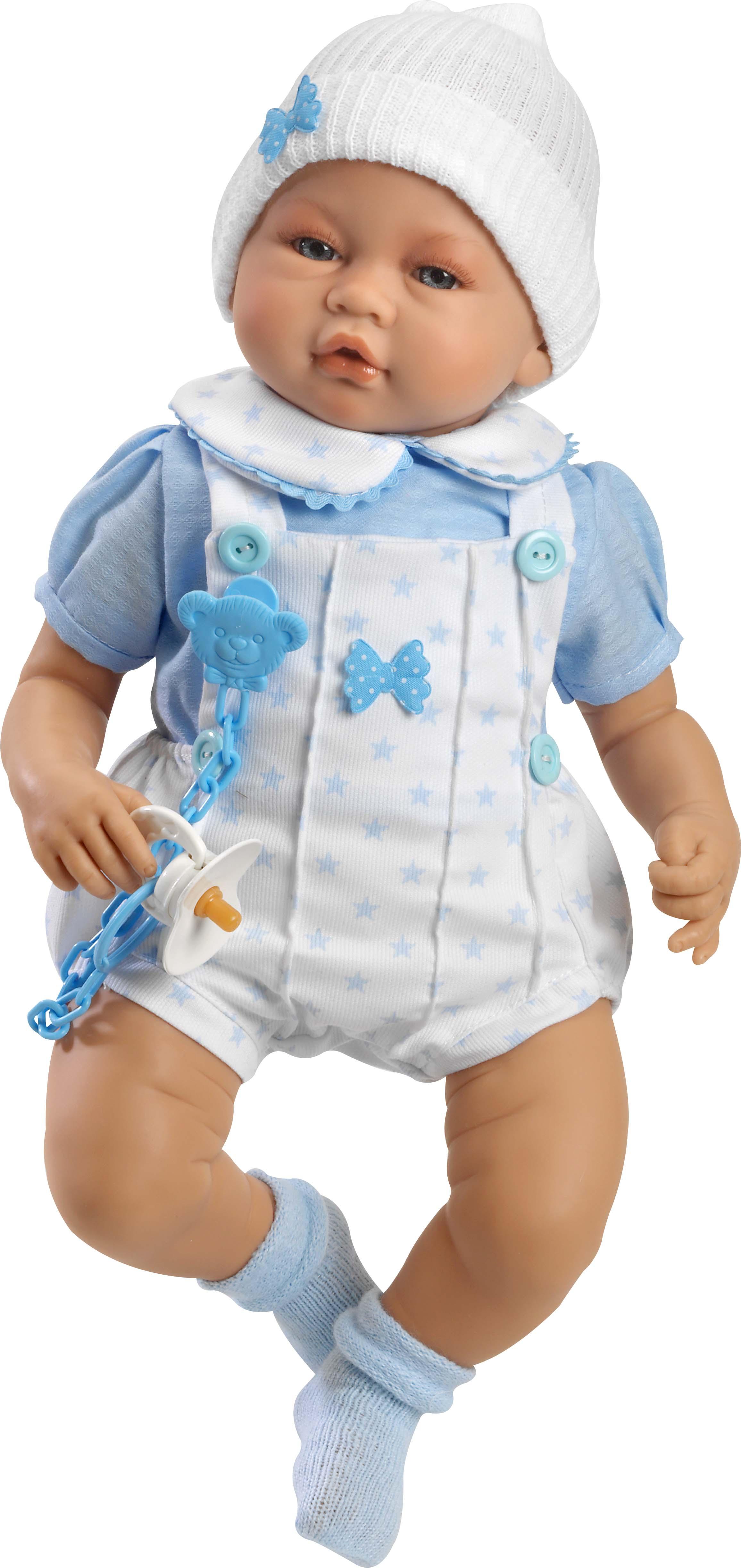 Iker Bebé sentado con ropa celeste y gorrito