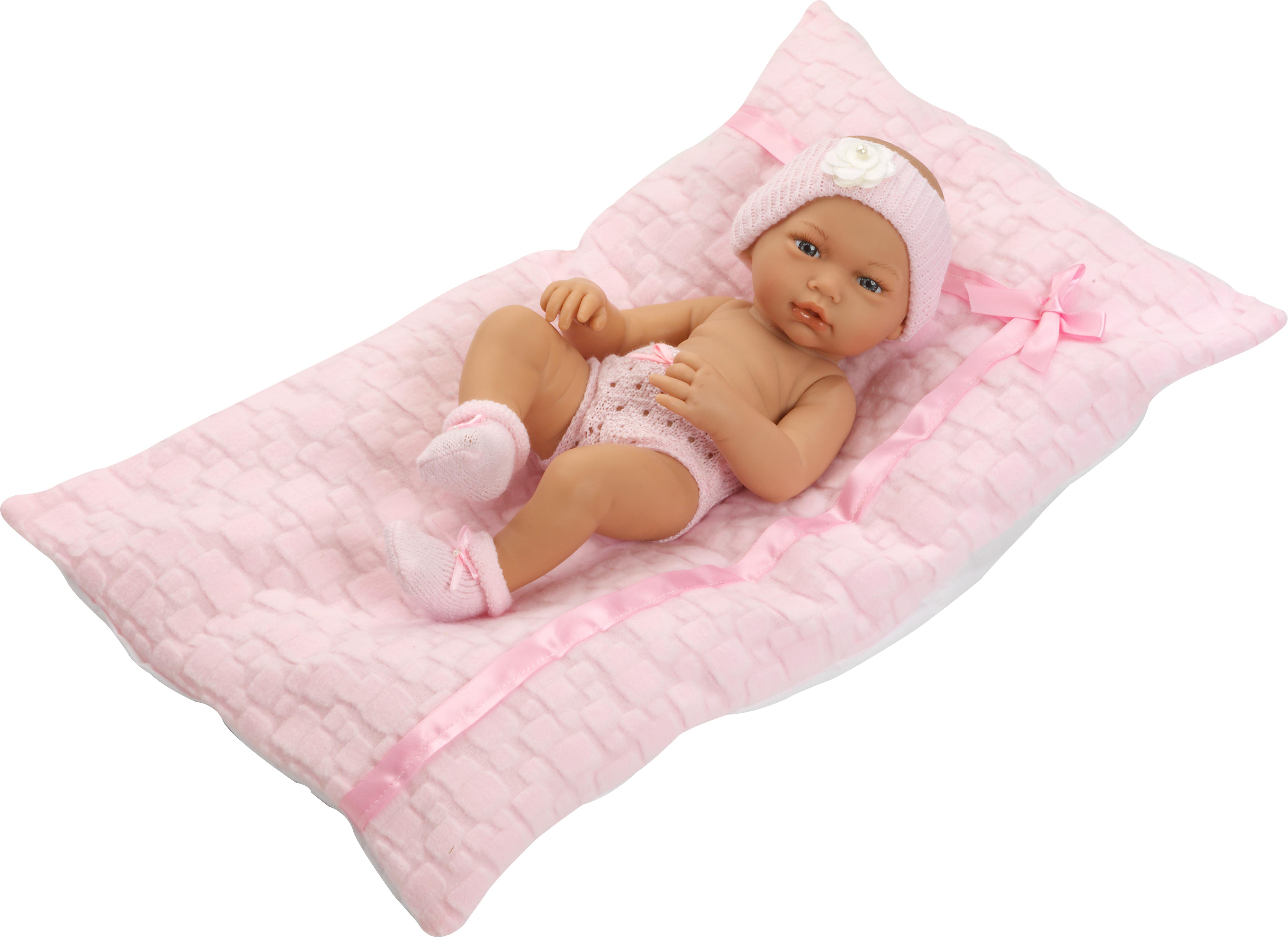 Recién Nacida con ropa rosa y cojín