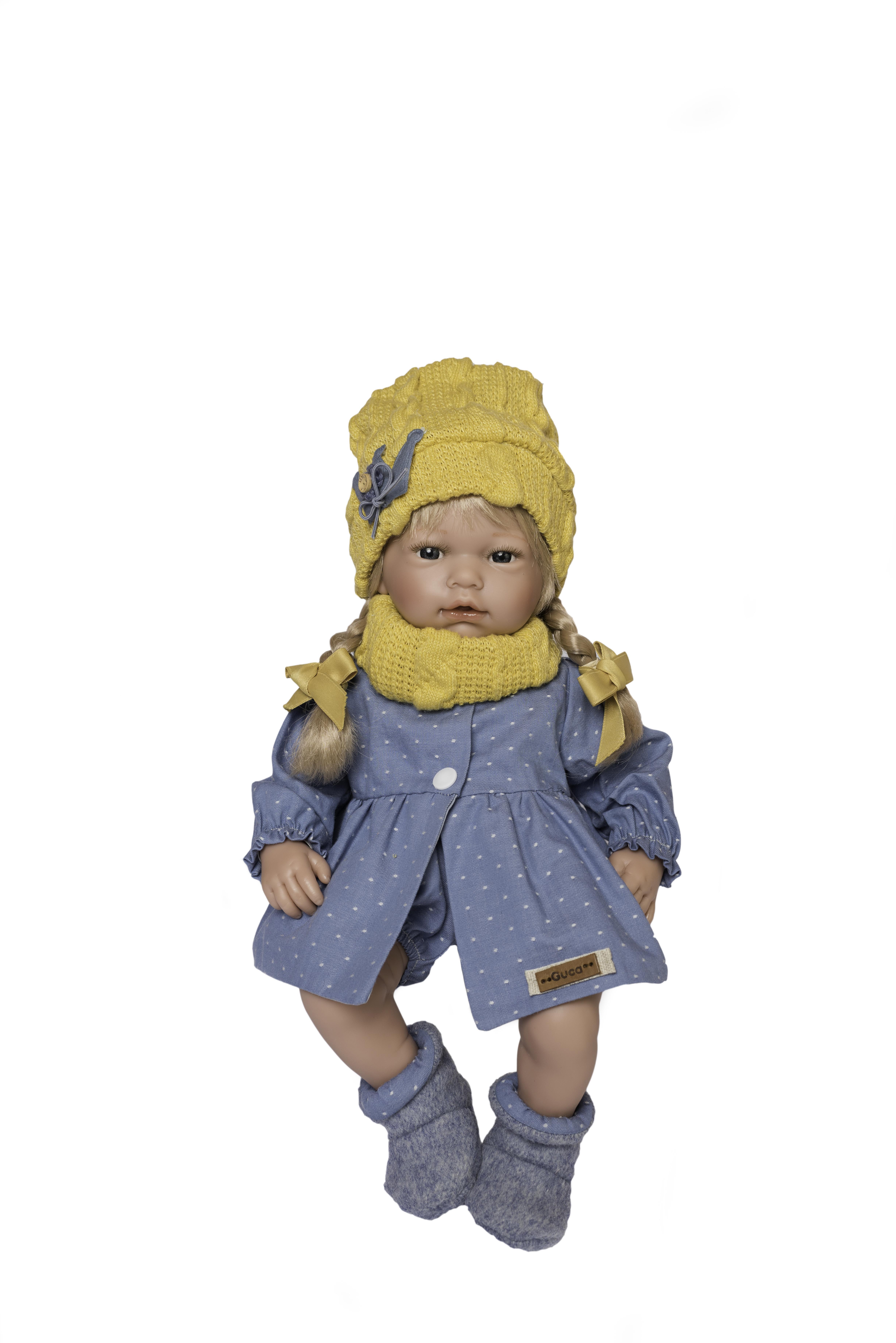 Ana Muñeca rubia con trenzas y ropa azul