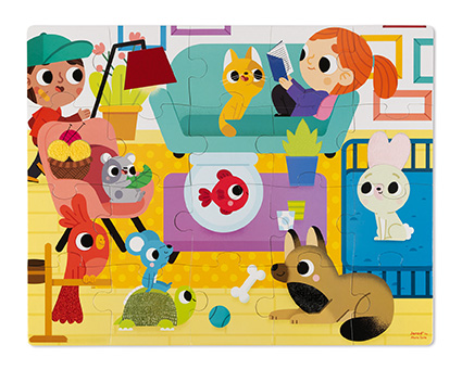 Puzzle táctil Animales Domésticos x 20 piezas