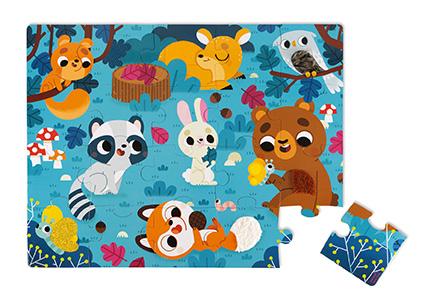 Puzzle táctil Animales del Bosque x 20 piezas